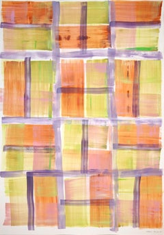 Abstract Grid Painting of Fall Country Fields, Mauve, Warm Tones, Beach Cabin