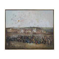 Abstract Modern Impasto Neutral Toned Balloon Release Crowd Landscape Painting