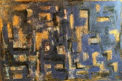 Abstract Oil Painting, Blue and Gold Colour