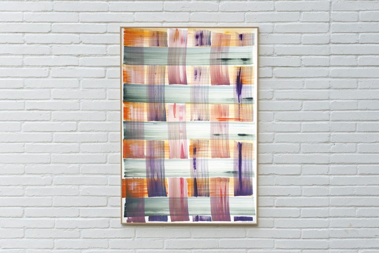 Abstract Painting of Colorful Grid Pattern in Warm Tones, Beach Cabin Style  For Sale 5