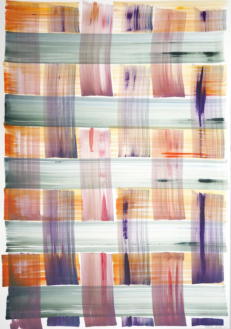 Abstract Painting of Colorful Grid Pattern in Warm Tones, Beach Cabin Style  - Mixed Media Art by Unknown
