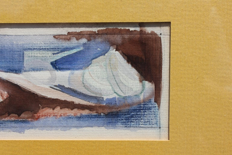 Small size watercolor image of shells. Painting is mainly blue, yellow and brown tones. Painting is framed in a painted wooden gold frame with a yellow matte. Dimensions without Frame: H 3.5 in x W 8.5 in.