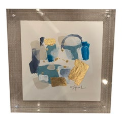 Abstract Signed in Thick Standing Lucite
