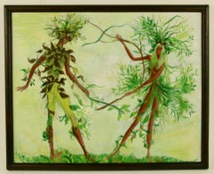 Abstract Surreal Figurative Leaf People  Painting