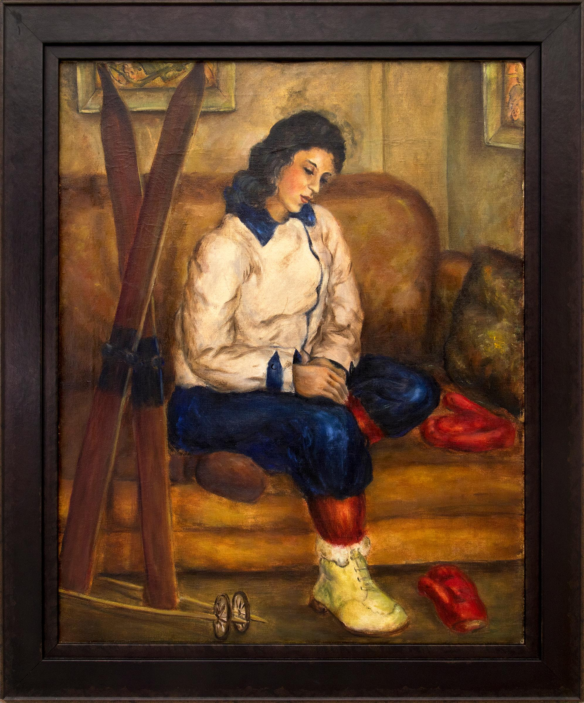 Adylin with Skis, Vintage 1930s Painting, Apres Ski, Cabin,