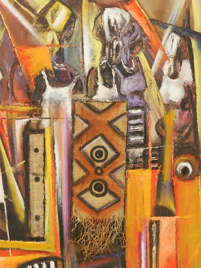 African Painting of Village Life Mixed Media 20th century signed by artist For Sale 1