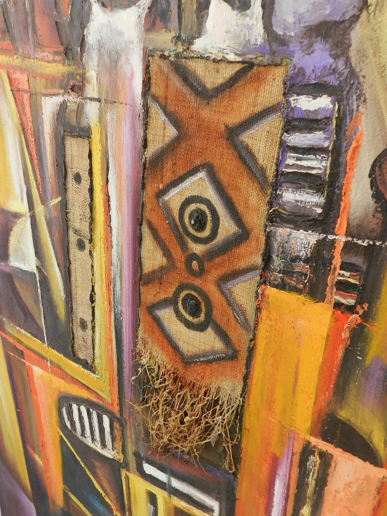 African Painting of Village Life Mixed Media 20th century signed by artist For Sale 4