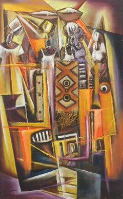 African Painting of Village Life Mixed Media 20th century signed by artist
