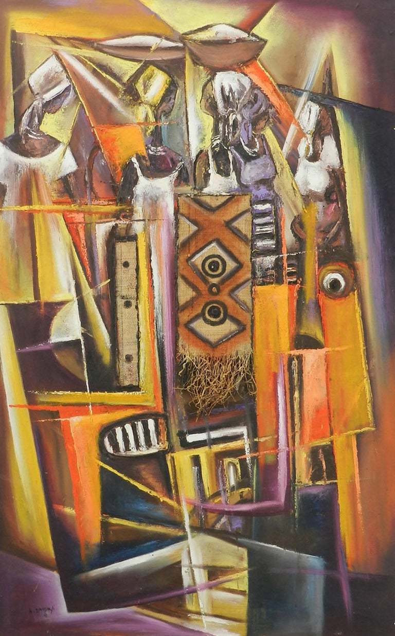 African Painting of Village Life Mixed Media 20th century signed by artist - Mixed Media Art by Unknown