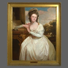 After George Romney, Portrait of Charlotte Bettesworth 19th Century Oil