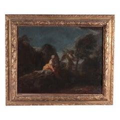 Agar and the Angel Oil on Canvas Bolognese School Italy 17th Century