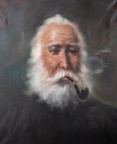 Alistair Douglas - Mid 20th Century Oil, Old Gentleman with a Pipe
