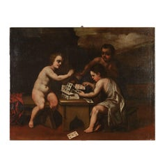 Allegoric Painting Cherubs Playing with Cards Oil on Canvas 18th Century