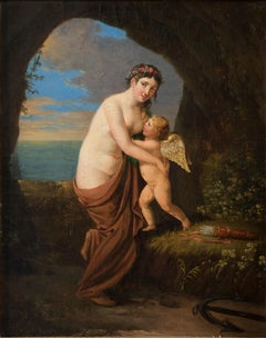 Allegorical Scene, Aphrodite and Eros - Oil on Canvas - Late 18th / Early 19th
