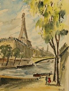 Along The Seine in Paris Landscape painting