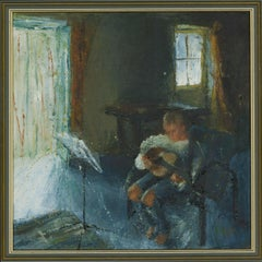 A.M. - Framed Contemporary Oil, The Musician