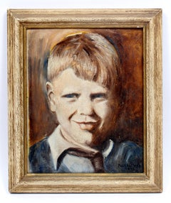 America impressionist portrait young boy 1937 Modern Figurative Oil Painting