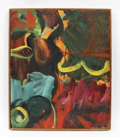 American Abstract Expressionist Flower Still Life Signed NYC Oil Painting