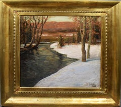 American Impressionist Bucks Co Pennsylvania Winter Snow Landscape Oil Painting