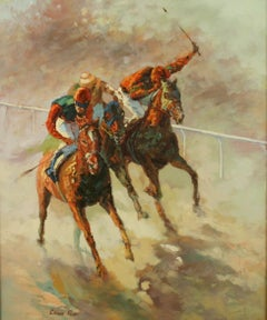American Impressionist Equestrian Oil Painting At The Races
