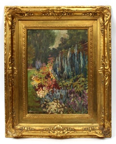 American Impressionist Garden Oil Painting Dated 1925 Signed  Gallery Label