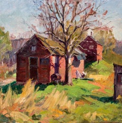 "American Impressionist Painting, ""Summer Cottages"", Oil in Canvas, Circa 1925"