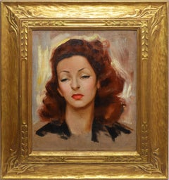 American Impressionist Portrait of a Young Woman Monogrammed Oil Painting