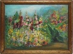 American Impressionist School Wild Flower Blooming Landscape