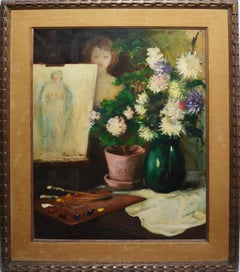 American Impressionist Self Portrait Nude Flower Still Life Signed Oil Painting