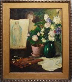 American Impressionist Self Portrait Nude Flower Still Life Signed Oil Painting