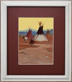 American Impressionist Western Native American Camp Teepee Horse Oil Painting