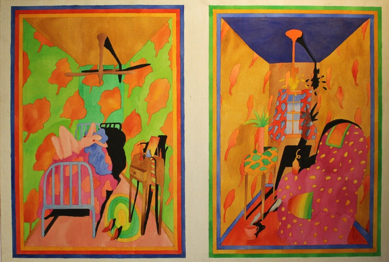 American Interior Nude Oil Painting 1970's Bright Neon Colors Pink Green Blue   - Brown Figurative Painting by Unknown