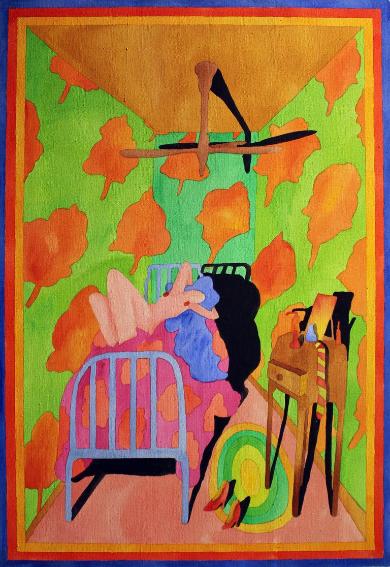 American Interior Nude Oil Painting 1970's Bright Neon Colors Pink Green Blue   For Sale 2