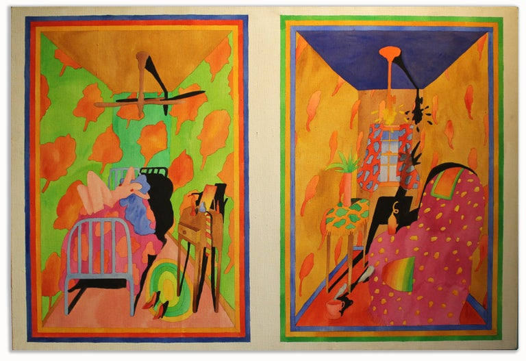 Unknown Figurative Painting - American Interior Nude Oil Painting 1970's Bright Neon Colors Pink Green Blue