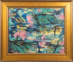 American Modernist Abstract Landscape Framed Vintage Oil Painting