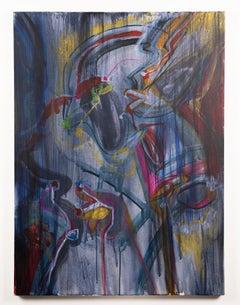 American Modernist Abstract Portrait Dancer Original Oil Painting