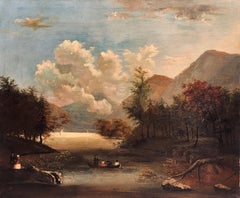American School 19th C Landscape with Black Figures in a Boat, likely Southern