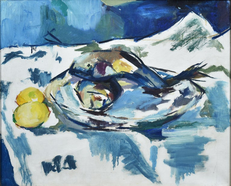 Modernist painting of fish and lemons.  Oil on canvas, circa 1950.  Unsigned.  Displayed in a modernist frame.  Image size, 20