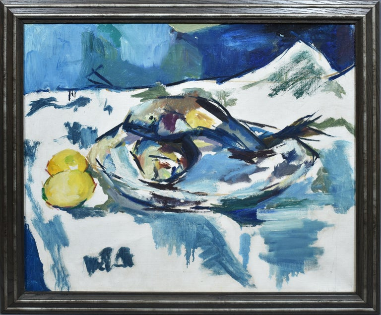 Unknown Still-Life Painting - American School Abstract Cubist Still Life Oil Painting of Fish and Lemons