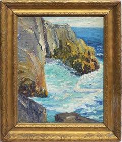 American School Antique California Impressionist Coastal Ocean Oil Painting