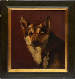 American School, Antique Portrait of a German Sheppard Dog