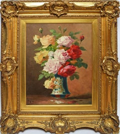 American School Antique Still Life with Roses