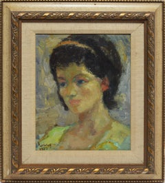 American School Early Impressionist Portrait of a Young Woman