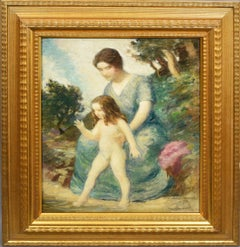 American School Impressionist Mother and Child Portrait Landscape Oil Painting