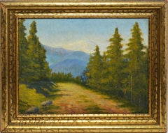 American School Antique Oil Painting Impressionist View of California Forest