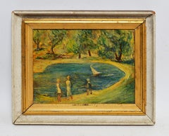 American School Impressionist View of Figures in a Park