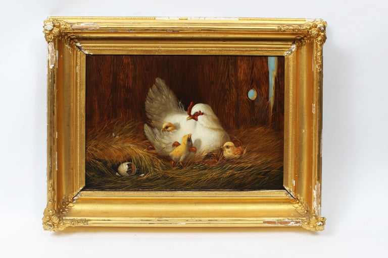 American School Masterpiece Museum Quality Chicken Chick Farm Rare Oil Painting - Brown Landscape Painting by Unknown