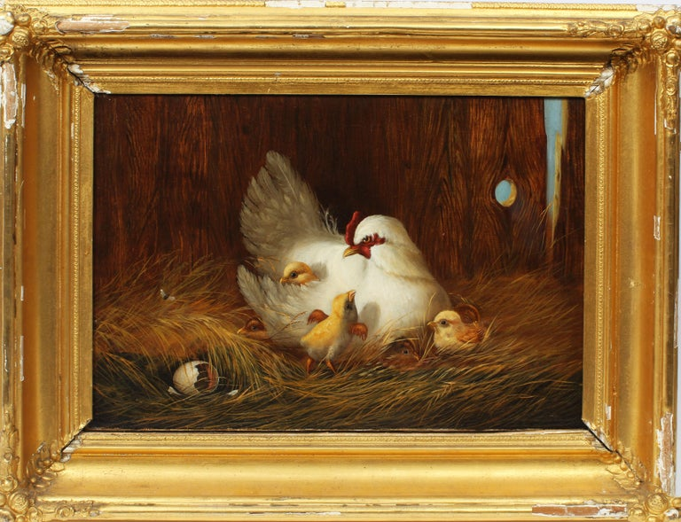 Unknown Landscape Painting - American School Masterpiece Museum Quality Chicken Chick Farm Rare Oil Painting