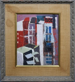 American School Mid Century Modern Abstract Architecture Cityscape Oil Painting