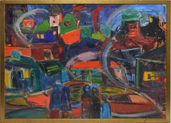 American School Mid Century Modern Abstract Cityscape